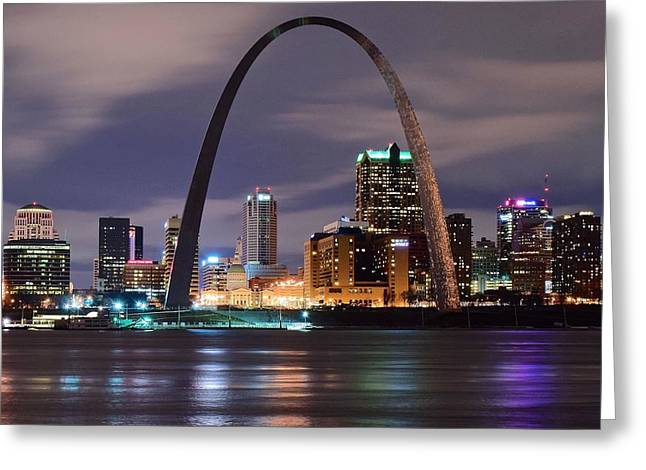Dark Night In St Louie Greeting Card by Frozen in Time Fine Art Photography