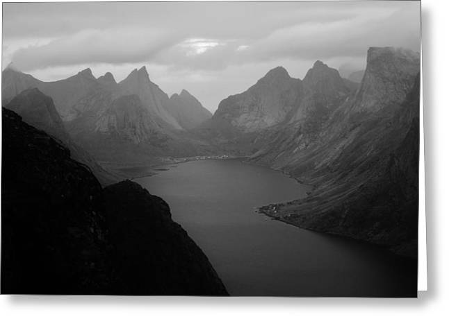 Dark Norse Fjords Greeting Card