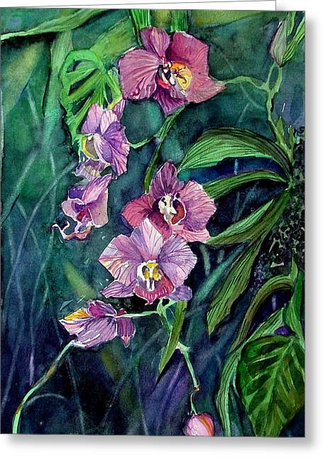 Dark Orchid Greeting Card by Mindy Newman