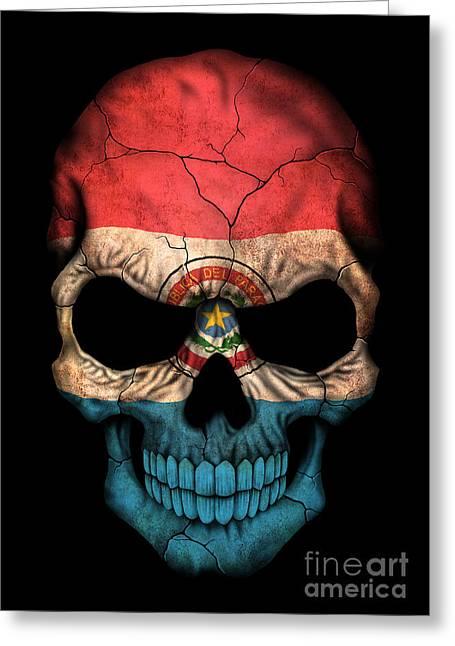 Dark Paraguay Flag Skull Greeting Card by Jeff Bartels