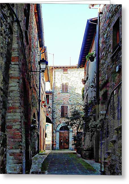 Dark Passageway In Panicale Greeting Card