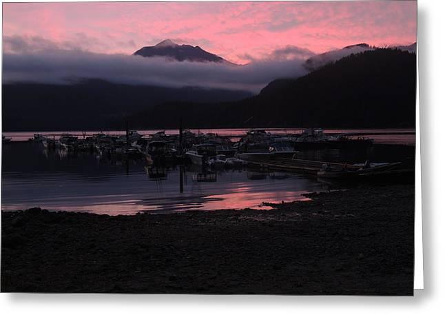Dark Pink Sunset Greeting Card