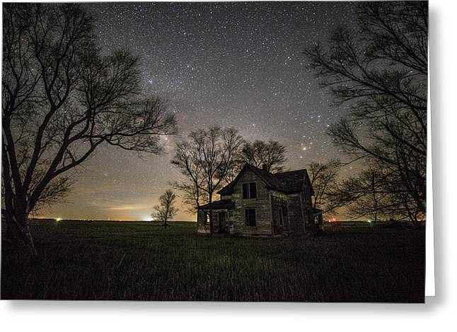 Dark Places On The Prairie  Greeting Card by Aaron J Groen