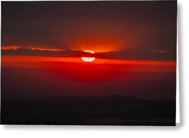 Dark Red Sun In Vogelsberg Greeting Card