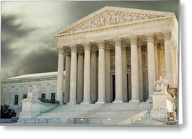 Dark Skies Above Supreme Court Of Justice Greeting Card by Patricia Hofmeester