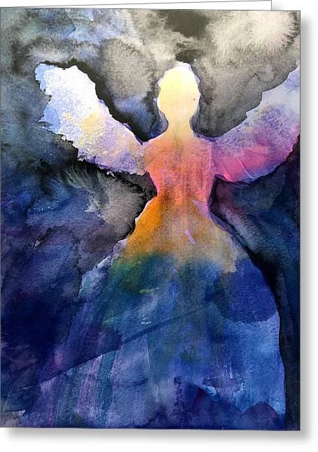 Dark Skies Angel Greeting Card by Jeanne MCBRAYER