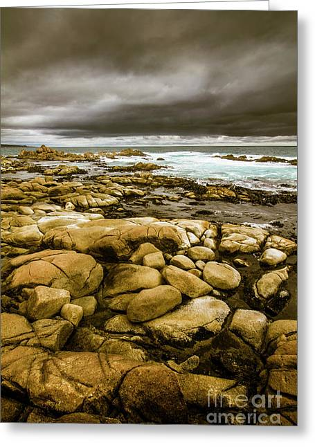Dark Skies On Ocean Shores Greeting Card by Jorgo Photography - Wall Art Gallery