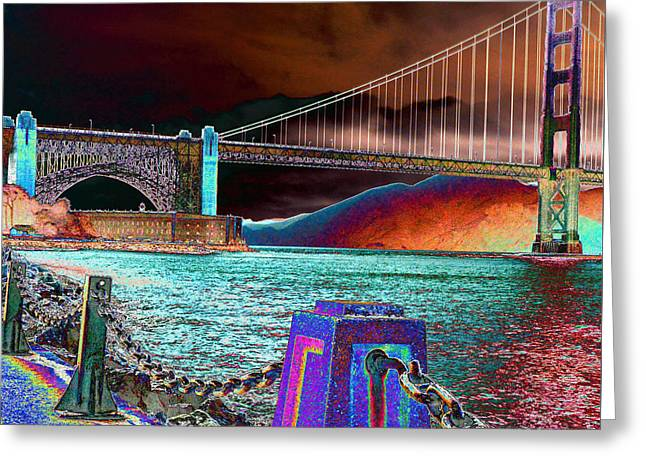 Dark Sky At The Golden Gate Greeting Card