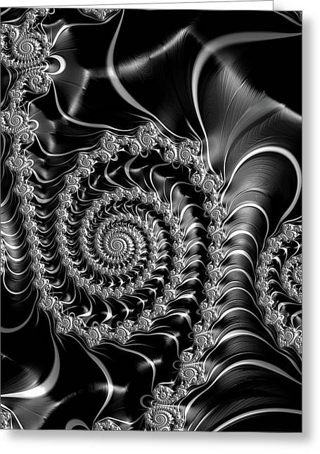 Dark Spirals - Fractal Art Black Gray White Greeting Card