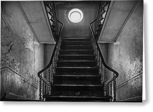 Dark Stairs To Attic - Urban Exploration Greeting Card by Dirk Ercken