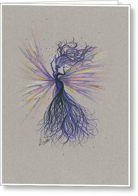 Greeting Card featuring the drawing Dark Streak Strut.. by Dawn Fairies