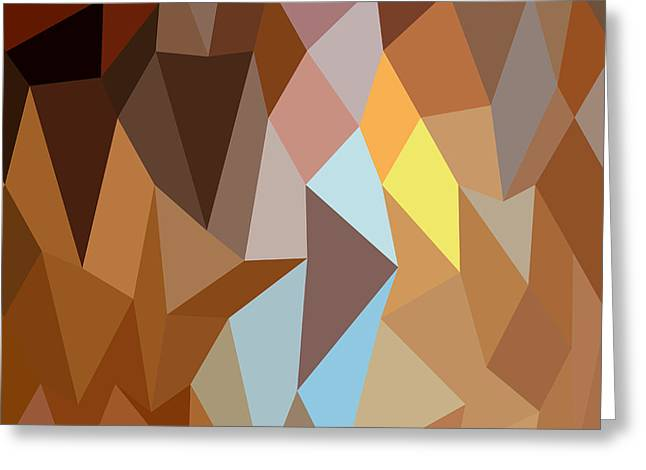Dark Tangerine Abstract Low Polygon Background Greeting Card