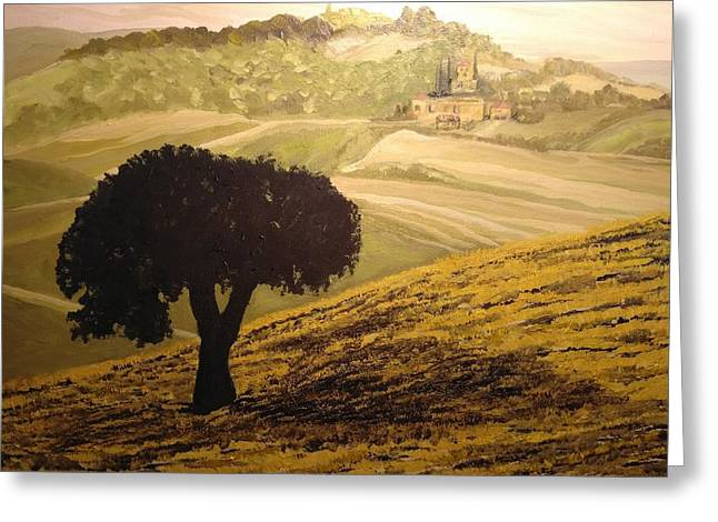 Greeting Card featuring the painting Dark Tree In The Vast by Ray Khalife