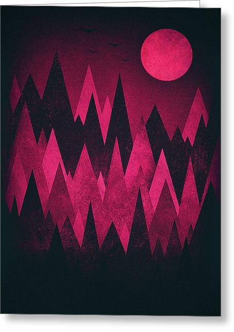 Dark Triangles - Peak Woods Abstract Grunge Mountains Design In Red Black Greeting Card by Philipp Rietz