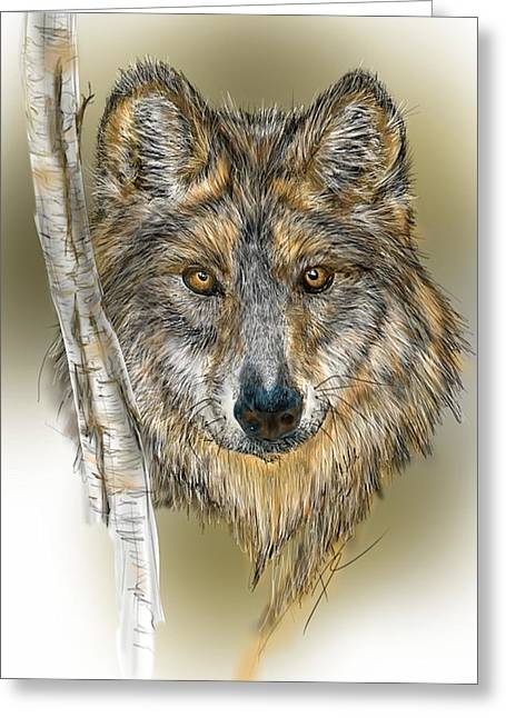 Greeting Card featuring the digital art Dark Wolf With Birch by Darren Cannell