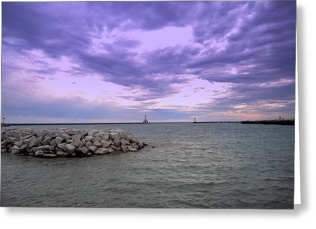 Darkening Skies Over Lake Michigan Greeting Card