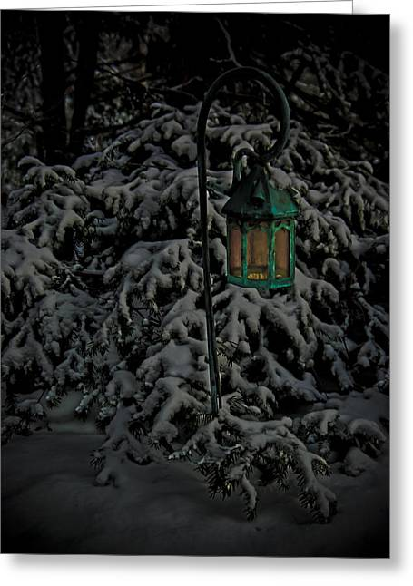 Darkness Descends Upon A Glowing Light Greeting Card by Timothy Hedges