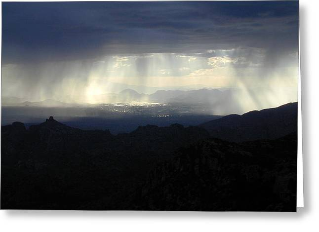 Darkness Over The City Greeting Card by Douglas Barnett
