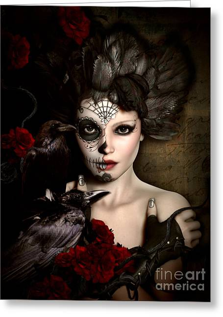 Darkside Sugar Doll Greeting Card by Shanina Conway