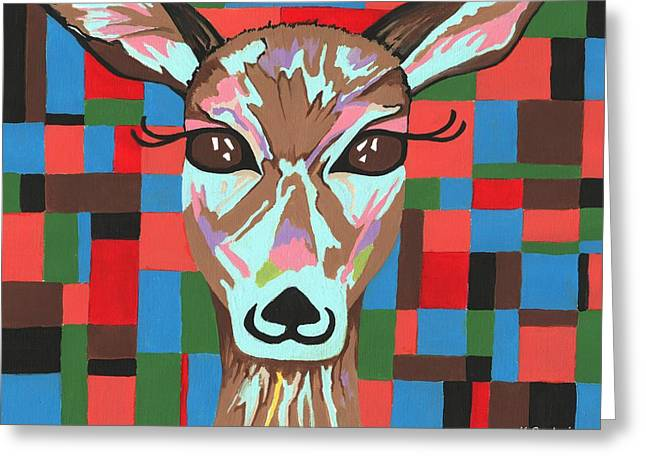 Greeting Card featuring the painting Darling Deer by Kathleen Sartoris