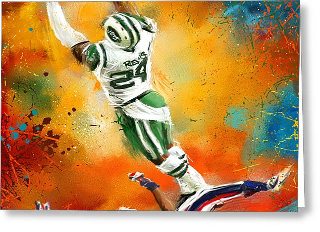 Darrelle Revis Action Shot Greeting Card by Lourry Legarde