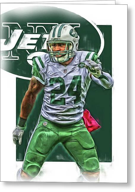 Darrelle Revis New York Jets Oil Art Greeting Card by Joe Hamilton