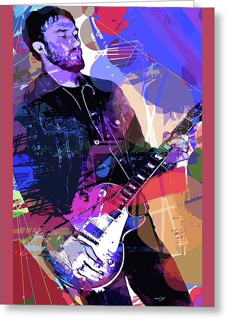 Darren Glover Les Paul Gibson Greeting Card by David Lloyd Glover