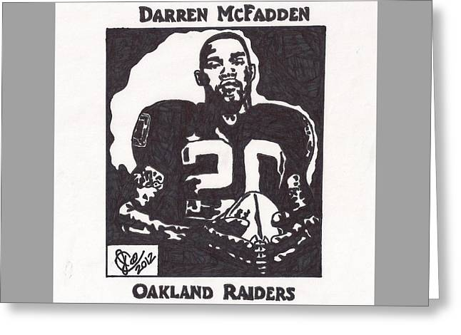 Greeting Card featuring the drawing Darren Mcfadden 2 by Jeremiah Colley