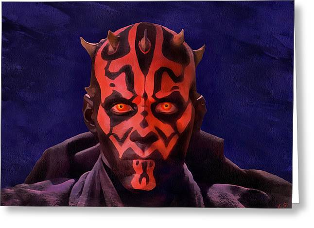 Darth Maul Dark Lord Of The Sith Greeting Card by Sergey Lukashin