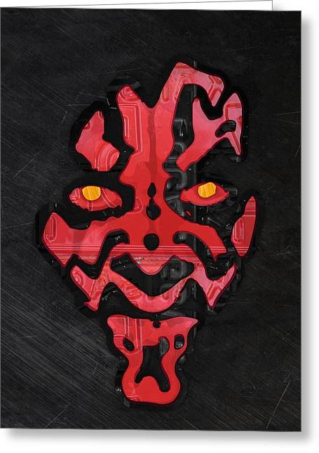 Darth Maul Sith Lord Star Wars Recycled Vintage License Plate Fan Art Greeting Card