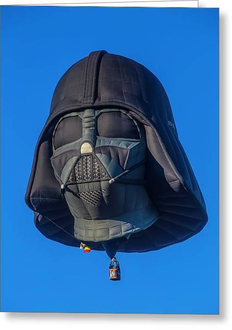 Darth Vader Helmet Hot Air Balloon Greeting Card by Garry Gay