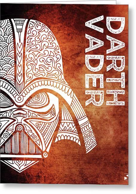 Darth Vader - Star Wars Art - Brown And White Greeting Card