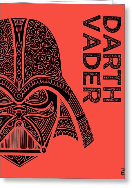 Darth Vader - Star Wars Art - Red Greeting Card