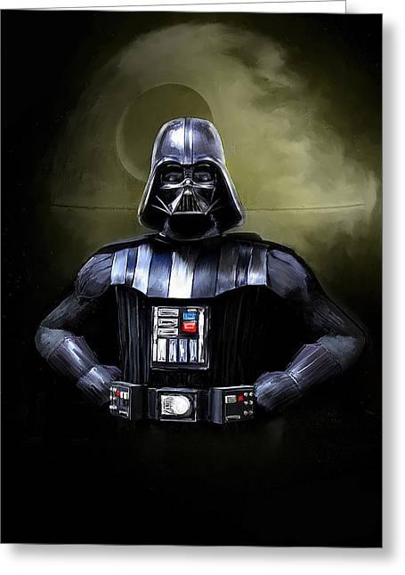 Movie Star Paintings Greeting Cards - Darth Vader Star Wars  Greeting Card by Michael Greenaway