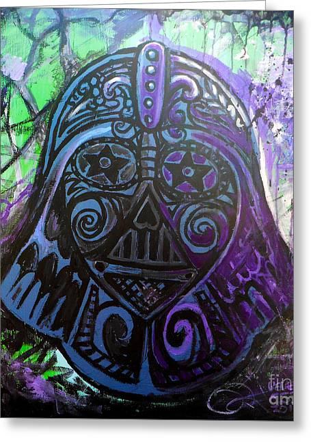 Darth Vader Sugar Skull Greeting Card by Genevieve Esson