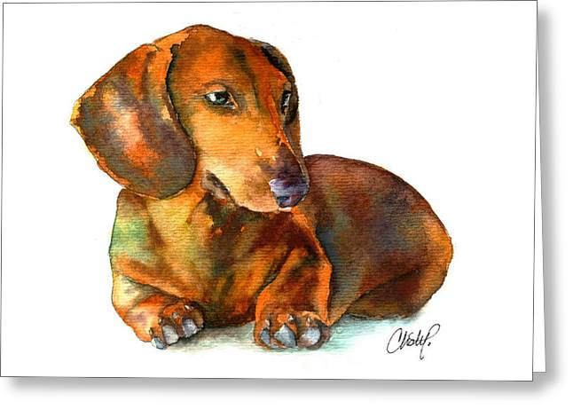 Daschund Puppy Dog Greeting Card