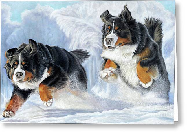 Greeting Card featuring the painting Dashing Through The Snow by Donna Mulley