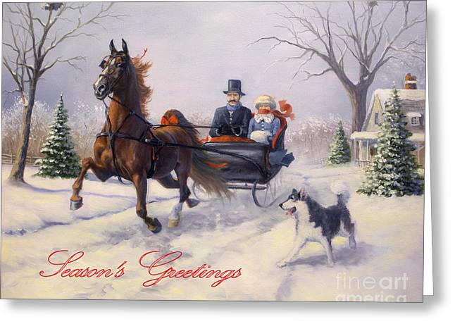 Dashing Through The Snow Greeting Card by Jeanne Newton Schoborg
