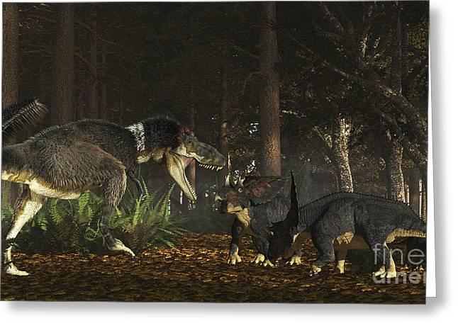 Daspletosaurus Confronts A Family Greeting Card by Arthur Dorety