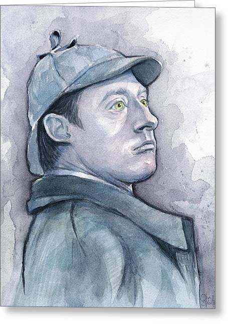 Data As Sherlock Holmes Greeting Card by Olga Shvartsur