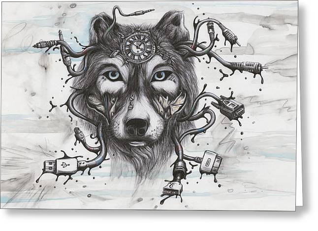 Data Wolf Greeting Card