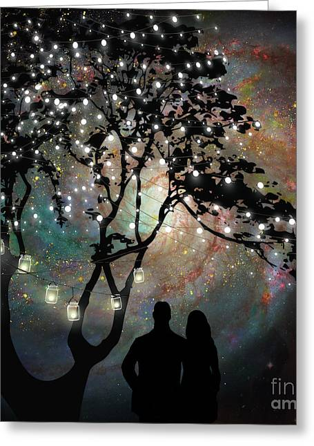 Date Night, Trees, Stars, String Of Lights, Galaxy, Dating Couple Greeting Card