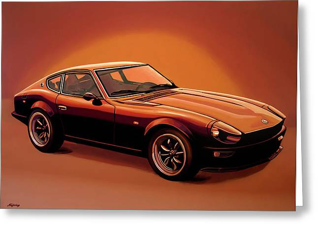 Datsun 240z 1970 Painting Greeting Card