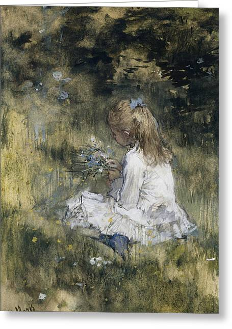 Daughter Of Jacob Maris With Flowers In The Grass Greeting Card
