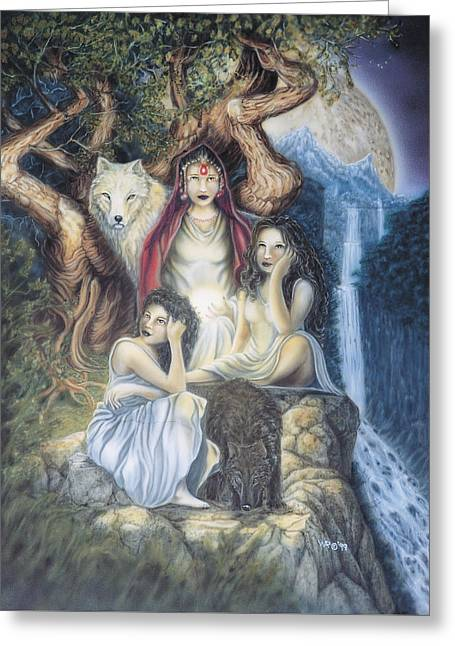 Daughters Of The Night Greeting Card by Wayne Pruse