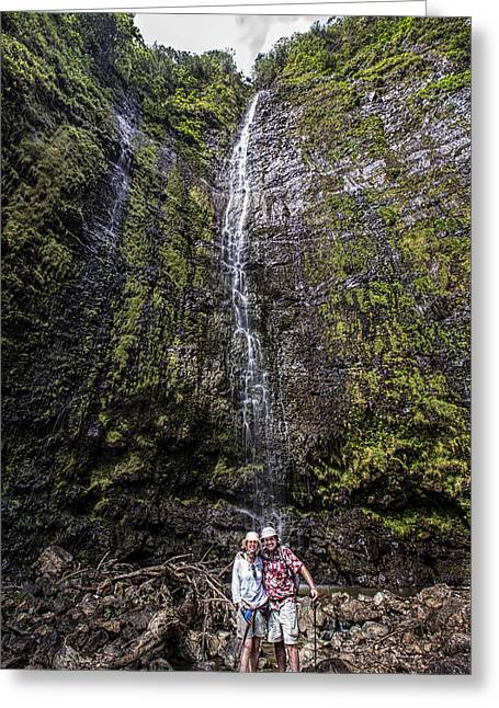 Dave And Elaine At Waimoku Falls Greeting Card