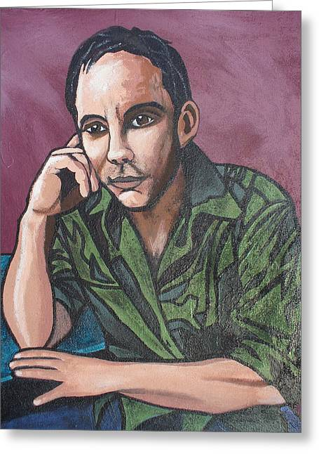 Greeting Card featuring the painting Dave Matthews by Sarah Crumpler