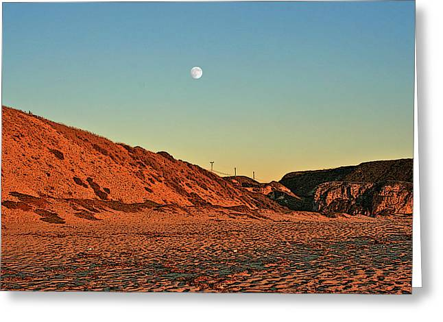 Davenport Dunes Sunset Moonrise Greeting Card by Larry Darnell
