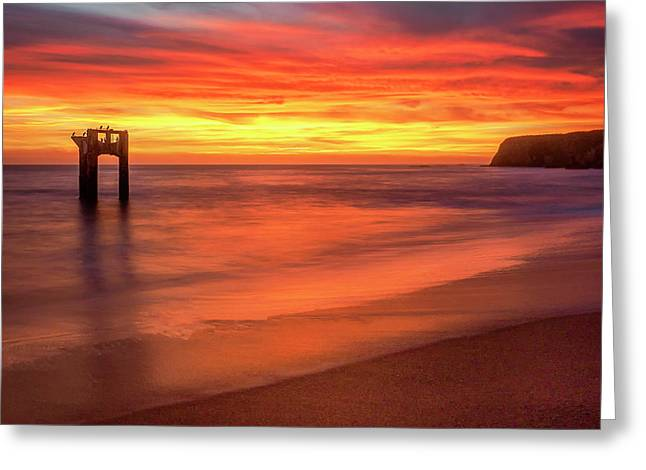 Davenport Sunset Greeting Card by Steve Spiliotopoulos
