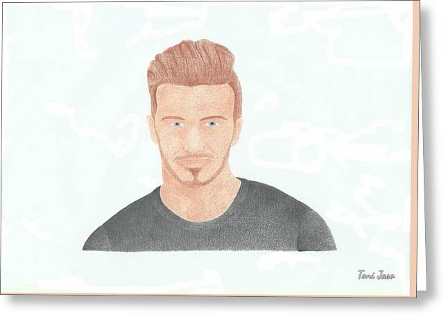 David Beckham Greeting Card by Toni Jaso